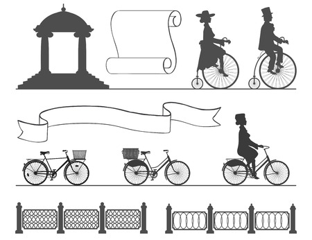 background next: vintage and modern bikes on a white background next to the fences and ribbons Illustration