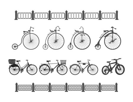 antiquity: a set of bicycles from antiquity to the modern on a white background and the edge of the fences