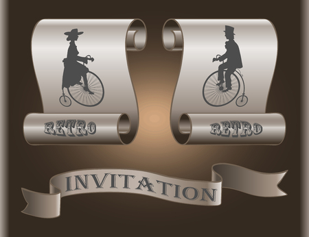 wedding dress back: The lady and gentleman on an old bicycle on background banners as invitations