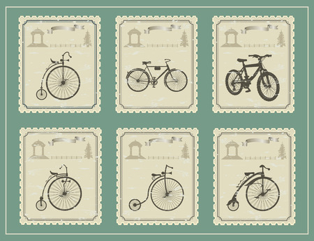 garden furniture: vintage stamp with a picture of a bike on a green table. 8 different bikes and a gazebo in the distance, a fence and a tree Illustration
