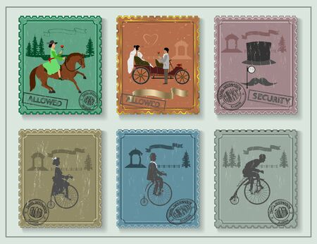 love dome: vintage stamp depicting bicycles, horse and young people on a green background. away arbor, a fence and a tree
