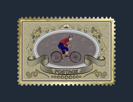relatives: mark for mail on a bicycle racer for your pictures and congratulations. relatives and friends will love and appreciate. Illustration