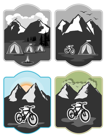 nature vector: Tents for tourism on the background of mountains and forests and a number of lit bonfire, is a bike