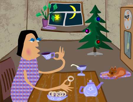 mujer bebiendo te: woman drinking tea in a warm room, the cat is sleeping on the floor, standing tree, the moon is shining in the window, by the wall clock Vectores