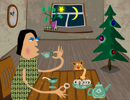 tea tree: woman drinking tea in a warm room, the cat is sleeping on the floor, standing tree, the moon is shining in the window, by the wall clock Illustration