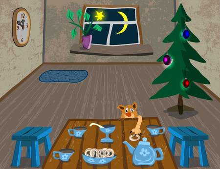 tea tree: cozy room and tea on the table, the cunning cat steals donut, tree stands, wall clocks