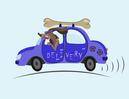 delivered: merry dog on blue cars delivered to customers tasty bone Illustration