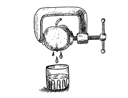 squeezed: Apple squeezed in a vice beneath a glass of juice Illustration
