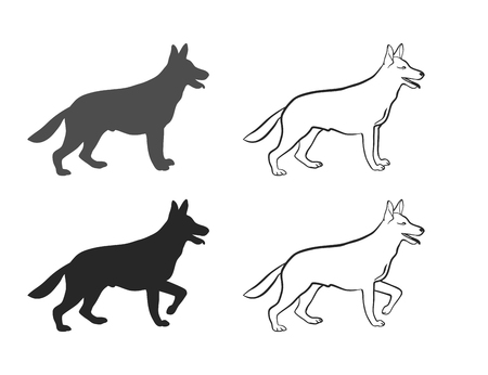 one color: Sheepdog in different poses on an isolated background