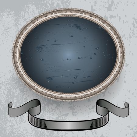 mottled background: oval frame on a mottled background and banner Illustration