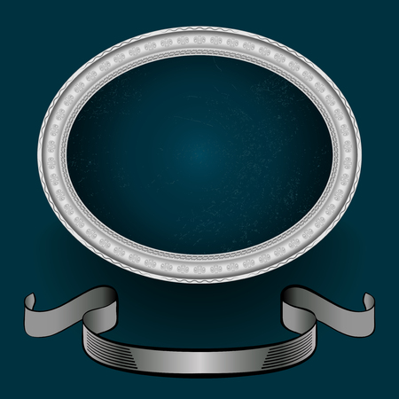 oval frame: oval frame of silver and banner for drawings and photos