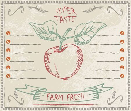 spotty: Sketch of an apple and a banner on spotty background for design menu