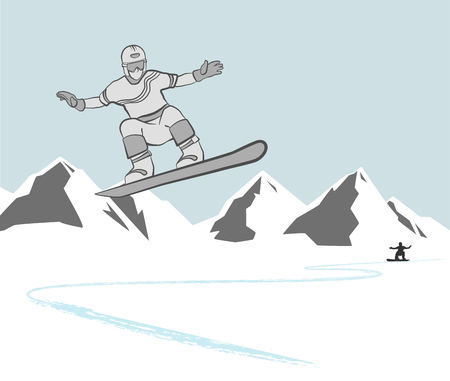 range of motion: a man riding a snowboard. in the background the high mountains and clouds. Vector illustration. Illustration
