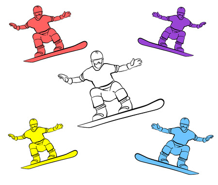 range of motion: GUY jumped on a snowboard. Four colors and one silhouette. For banners, cards, internet and other. Vector illustration