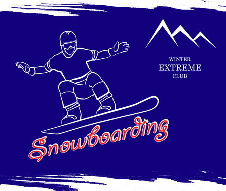 range of motion: a man riding a snowboard. in the background the high mountains. Vector illustration.
