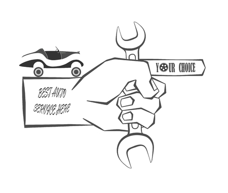 hand holds the instrument and shows to the service of repair of vehicles on a white background, advertising and store. vector illustration Illustration