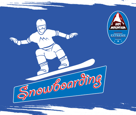 range of motion: GUY jumped on a snowboard. One silhouette. badge with a red slide. For banners, cards, internet and other. Vector illustration Illustration