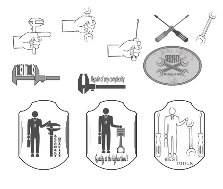 locksmith: a set of quality tools for locksmith. hand holding a wrench, screwdriver, Illustration