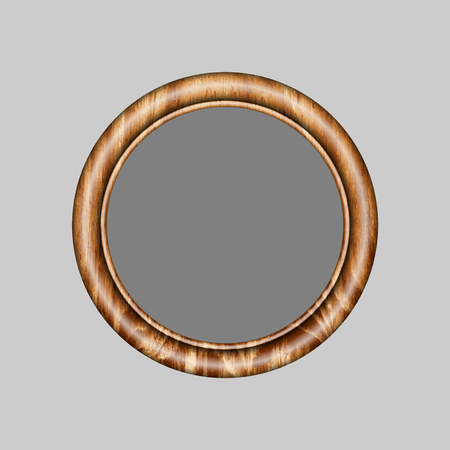 round frame made of precious wood for paintings, portraits and other. vector illustration. To work designers Illustration
