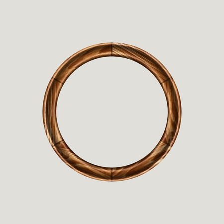 wood frame: round frame made of precious wood for paintings, portraits and other. vector illustration. To work designers Illustration