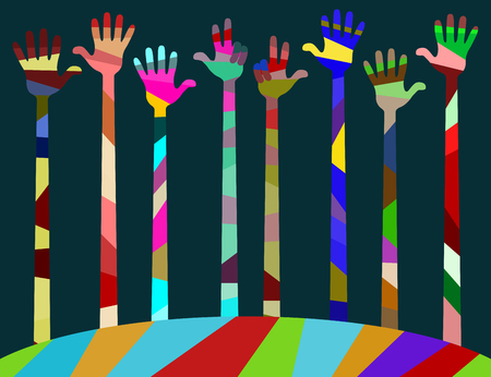 reconciliation: many different colored hands. palms raised up and bent fingers. vector illustration, editable to any size