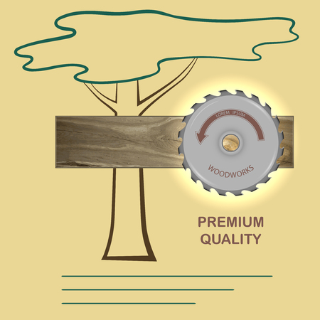 timber cutting: board from oak and circular saw on wood background silhouette. store, workshop, on the banners and advertisements. Vector illustration. Illustration