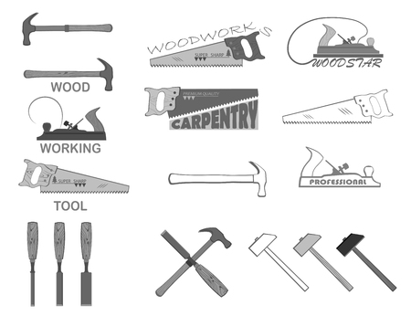 hammer: set of tools for working with wood. have a hammer, planer, circular saw