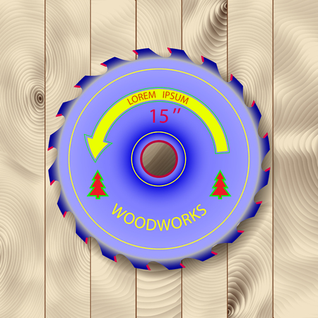 softwood: circular saw on wood of bright color. against the backdrop of a beautiful texture of the board.