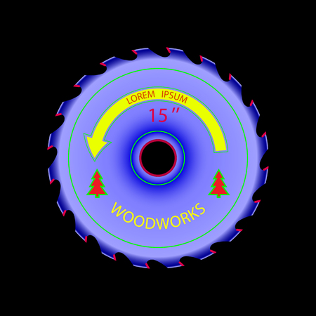 softwood: circular saw on wood of bright color.