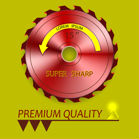 softwood: Circular Saw red and diamond. For store, advertising and design. Illustration