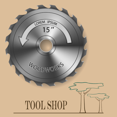 softwood: Circular Saw with a gradient fill. For store, advertising and design. Illustration
