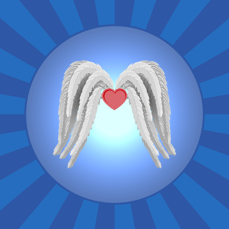angel wings and far ahead of the bright light. vector illustration for cards and invitations designers