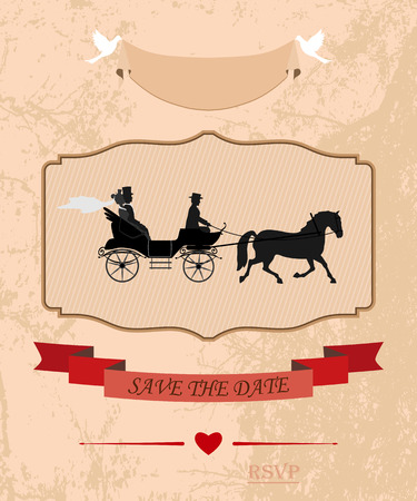 crew: an invitation to the wedding and celebration. the bride and groom drove in crew. vector illustration for designers and publishers. fully editable Illustration