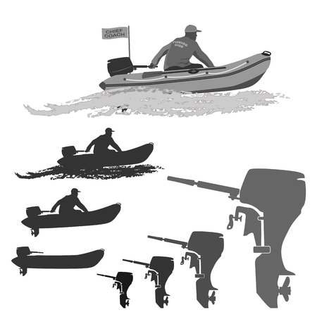 outboard: head of the club fishermen rides on a rubber boat with a motor. set of silhouettes. totally vector illustration