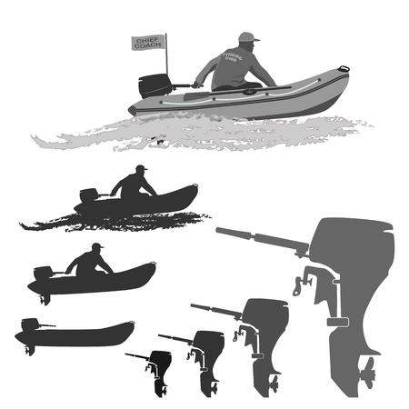 chef des pêcheurs du club monte sur un bateau en caoutchouc avec un moteur. ensemble de silhouettes. totalement illustration vectorielle