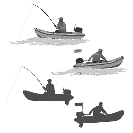 head of the club fishermen rides on a rubber boat with a motor. fisherman in a boat catches a fish set of silhouettes. totally vector illustration