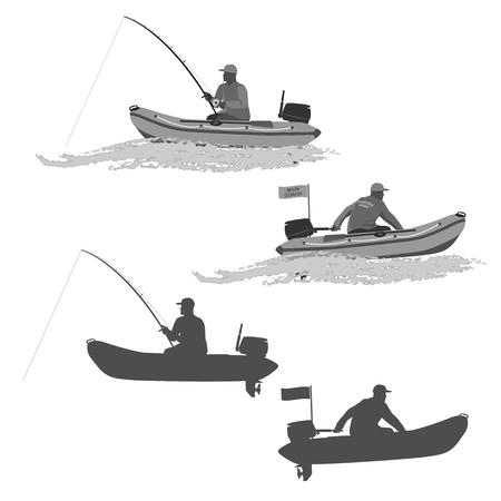 pescador: jefe de los pescadores del club monta en un bote de goma con un motor. pescador en un barco captura un pez conjunto de siluetas. totalmente ilustración vectorial Vectores