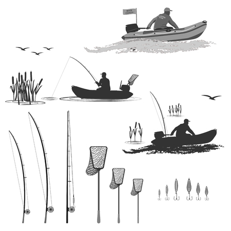 boat motor: head of the club fishermen rides on a rubber boat with a motor. fisherman in a boat catches a fish in a set of spinning, landing net, baubles Illustration