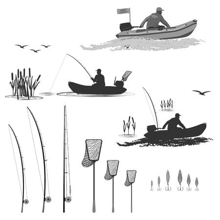 hoofd van de club vissers rijdt op een rubber boot met een motor. visser in een boot vangt een vis in een set van spinnen, schepnet, snuisterijen