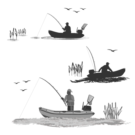 chef des pêcheurs du club monte sur un bateau en caoutchouc avec un moteur. pêcheur dans un bateau prend un poisson ensemble de silhouettes. Vecteurs