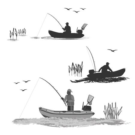 jefe de los pescadores del club monta en un bote de goma con un motor. pescador en un barco captura un pez conjunto de siluetas. Ilustración de vector