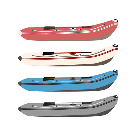 keel: set of rubber boats in different colors of high quality material