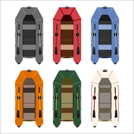keel: set of rubber boats in different colors of high quality material.