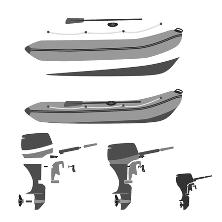 boat motor: rubber boat and motor disassembled and whole.