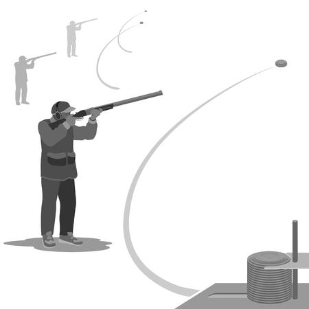 man schiet op een vliegende kleiduiven met een geweer. sneakers op de voeten, op de kop cap