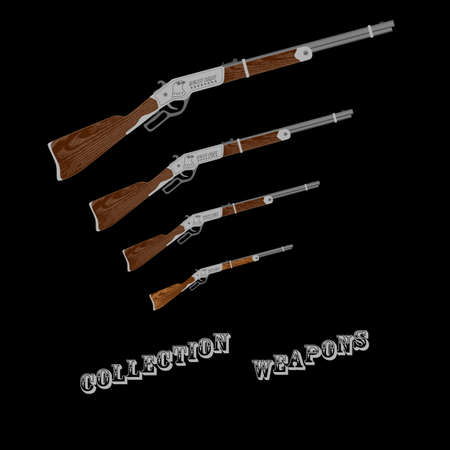 collectible: vintage collectible rifle on a black background for designers and print. illustration