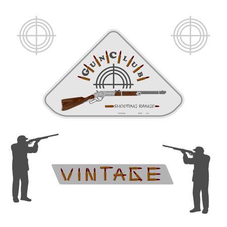 collectible: vintage collectible rifle on a white background and the silhouette of men for designers and print. illustration