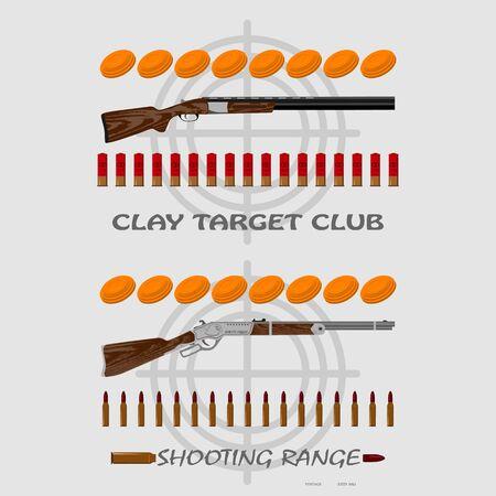 marksmanship: rifle, bullets, plates and target for marksmanship