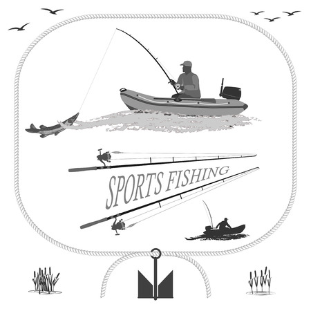 swivel: A fisherman in a boat fishing, silhouette. A rubber boat top and side, near Spinning and landing net. fish called Pike.