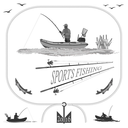 outboard: A fisherman in a boat fishing, silhouette. A rubber boat top and side, near Spinning and landing net. fish called Pike.